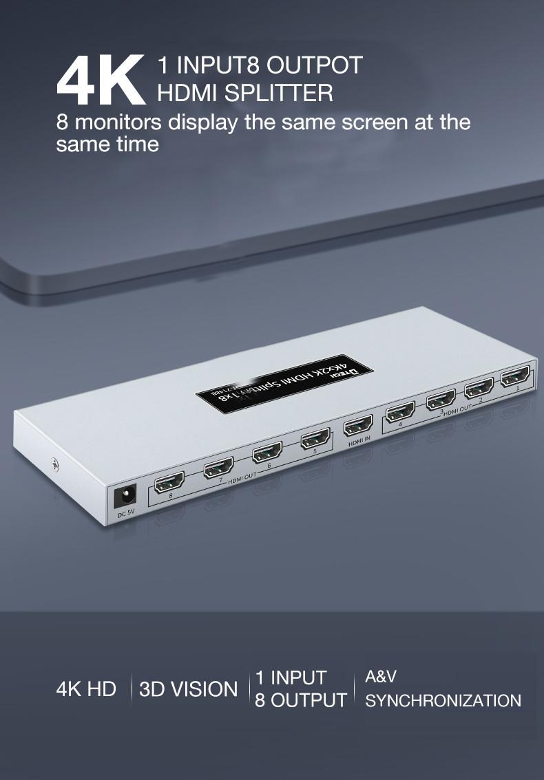 Dtech DT-7148B HD 3D 4K@30hz 8 ports HDMI Splitter 1X8
