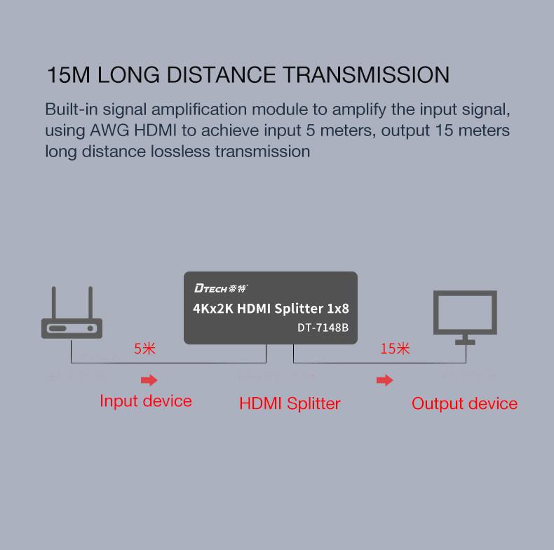 DTECH New Version HD 3D 4Kx2k HDMI Splitter 1 in 8 outs
