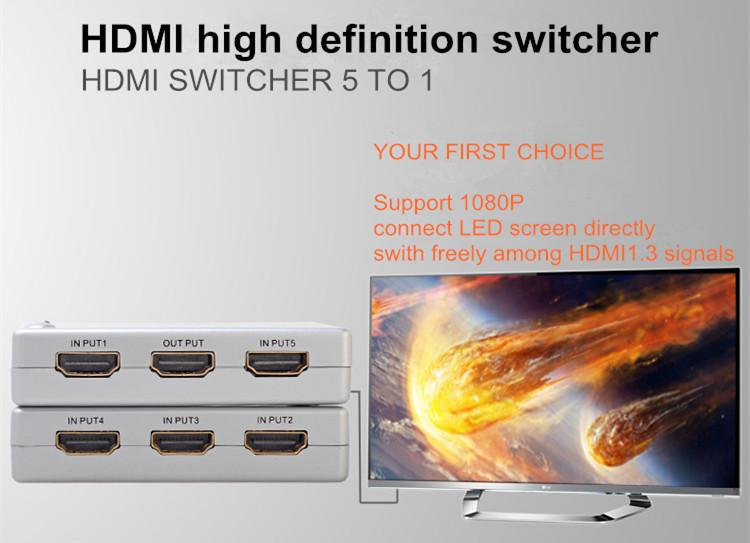 DTECH DT-7021 Good Quality 3D 1080P HDMI SWITCH  5 x1
