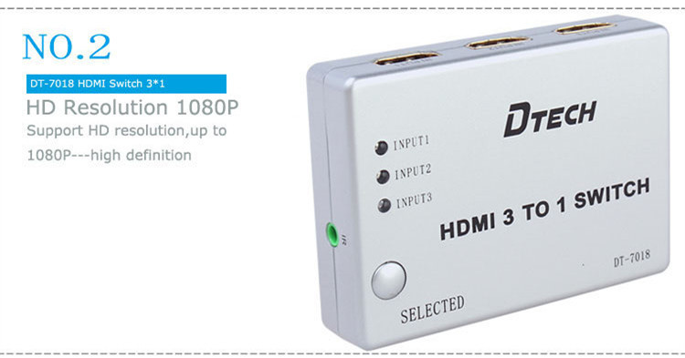 DTECH DT-7018 1080P HDMI SWITCH 3 In 1 Out