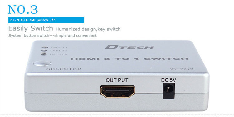 DTECH DT-7018 1080P@60HZ HDMI Switch 3 to 1 with IR