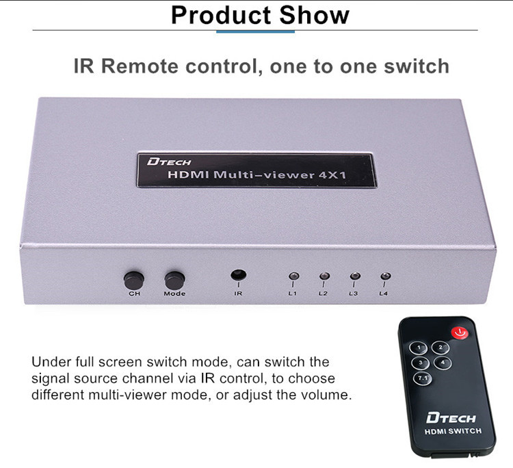 DTECH DT-7056A CCTV Meeting room HDMI switch Quad Multi-viewer 4 to 1