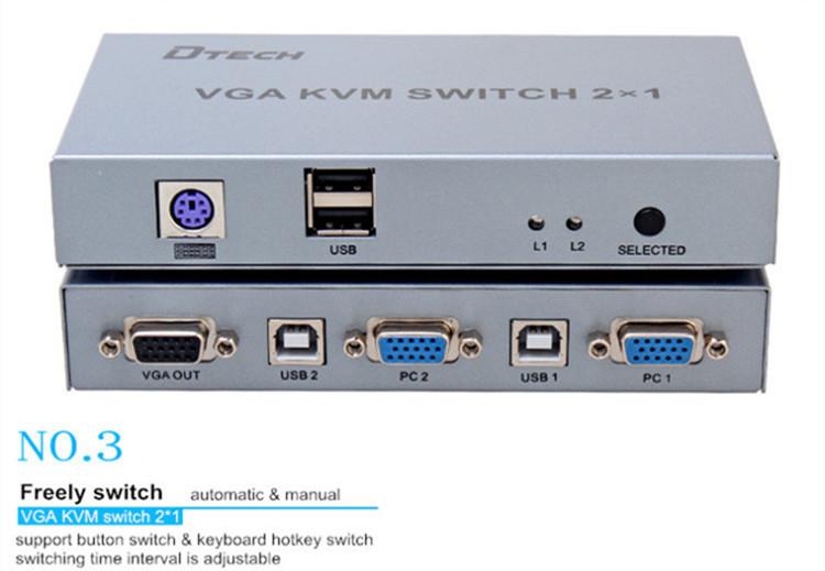 DTECH DT-7016 1920X1440 VGA KVM Switch 2x1