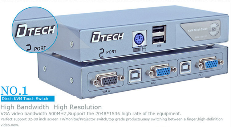 DTECH DT-8021 Semi-automatic KVM switcher 2 * 1