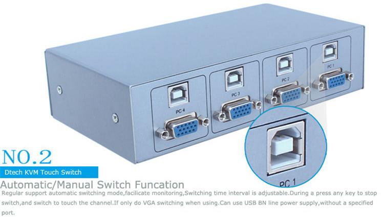 DTECH DT-8041 Semi-automatic KVM switcher 4 * 1