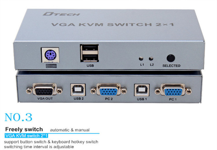 DTECH DT-7016  Good Quality 1920 x 1440  KVM Switch 2x1