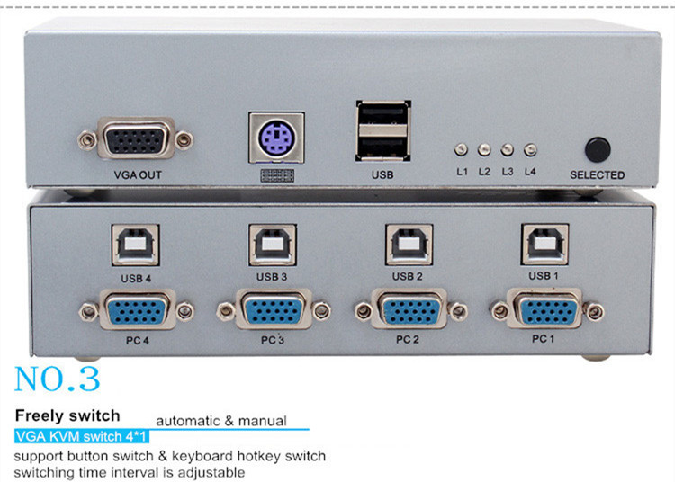 DTECH DT-7017 High Quality 250MHZ Bandwidth KVM Switch 4 in 1 out