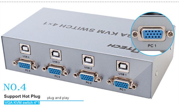 DTECH DT-7017 1920 x 1440 250MHZ VGA KVM Switch 4*1