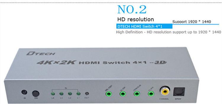 DTECH DT-7041 3D 4K*2K HDMI Switch 4 to 1+ Audio