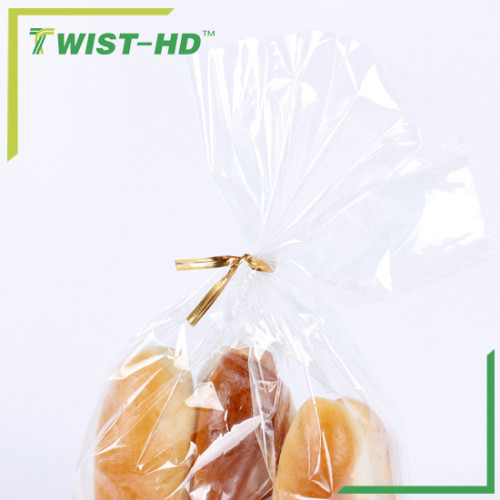 Gold PET metallic bag closure/twist ties for bakery