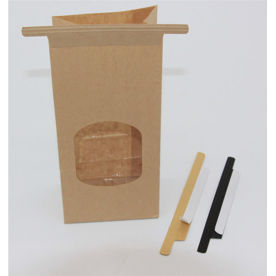 Adhesive paper tin tie for coffee bag closure