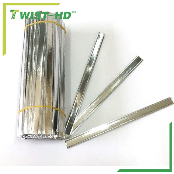 Foil paper twist tie for double wire
