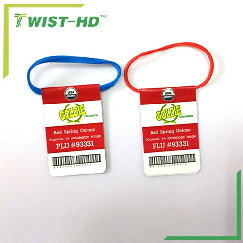 rubber band tags for vegetable/fruit