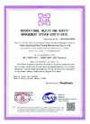 OCCUPATIONAL HEALTH AND SAFETYMANAGEMENT SYSTEM CERTIFICATE