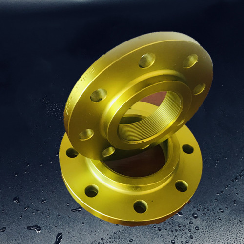 Yellow painted ASME B 16.5 NPT threaded flanges