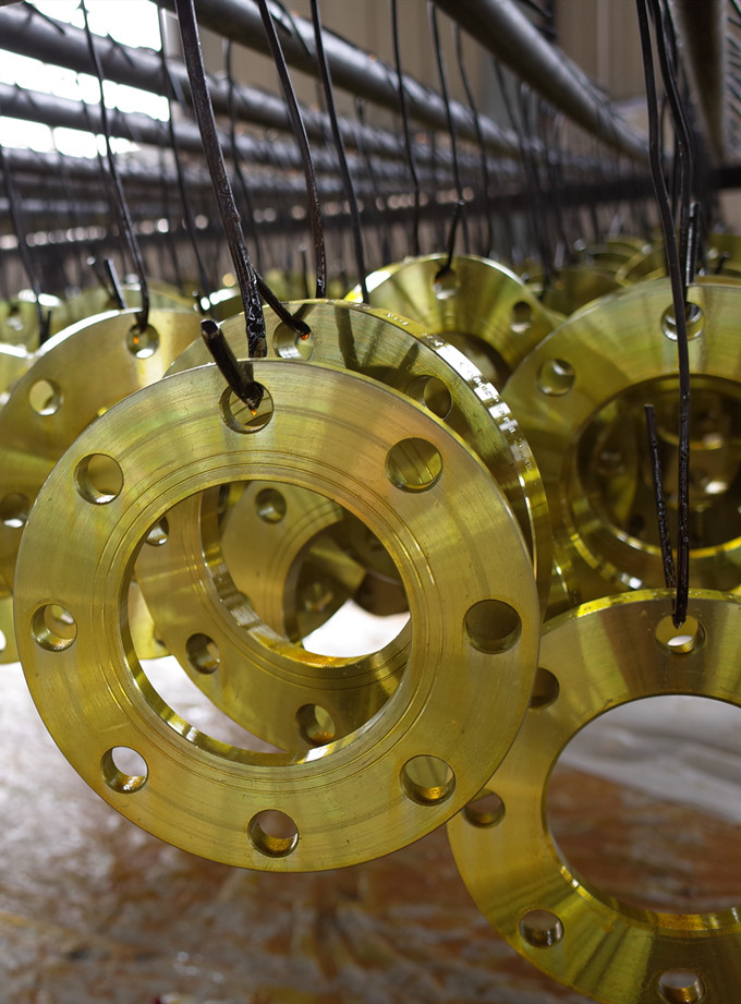 yellow painted flanges