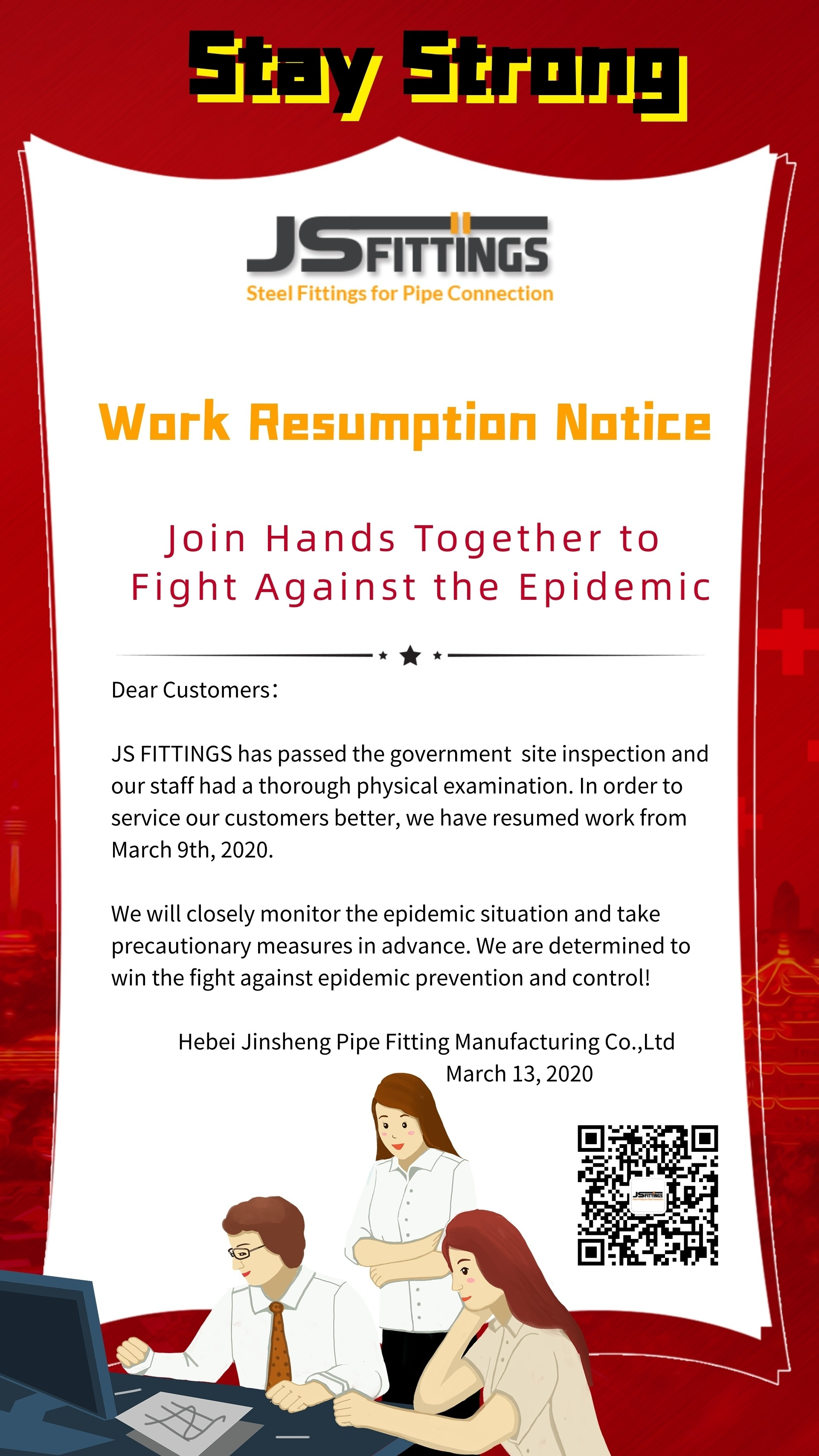 JS FITTINGS wrok resumption notice