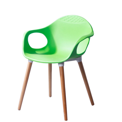 Modern wooden leg plastic backrest chair with armrest