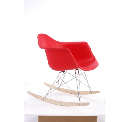 2019 New design plastic rocking chair for living room rocking chair with metal frame and wooden legs