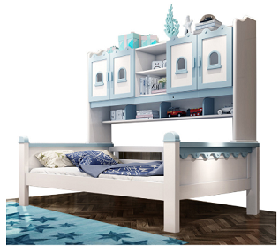 Colorful Princess Kids Bedroom Furniture Girls and Boys Bed with Bookshelf