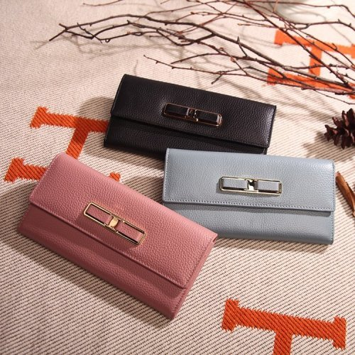 New Cowhide Lady's Purse with Long Zipper Wallet and Korean Version of Fashionable Cowhide Handbag