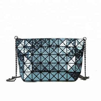 Wholesale Woman Style Cream PU Leather Geometric Shoulder Chain Bag Handbag