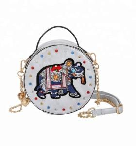 Carton Pattern Crossbody Handbags Round Pu Leather Shoulder Bags