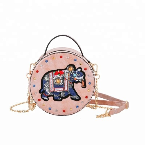 Carton Pattern Crossbody Handbags Round Pu Leather Shoulder Bags