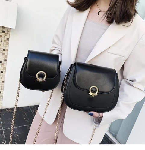 Trapzoid  Small Metal ButtonMessenger Women Handbag