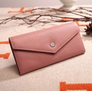 Fashionable New Lady Leather Medium Length Purse Cowhide