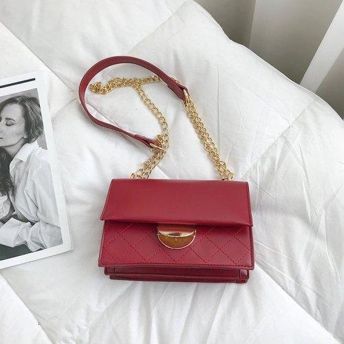 Snap-fastener Chain Decoration Women Rectangular Shoulder Bag