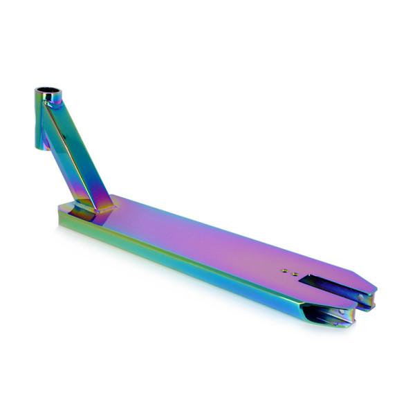 Pro moda alumínio 6061 conluio pontapé scooter deck com vácuo arco-íris cor