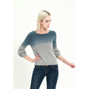 Wholesale new fashion pure cashmere women sweater with dip dye printing China supplier