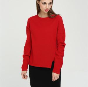 nuevo diseño de cuello redondo suéter de cachemir puro para las mujeres