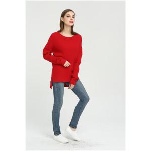 Mode reiner Kaschmir Frauenpullover mit roter Farbe
