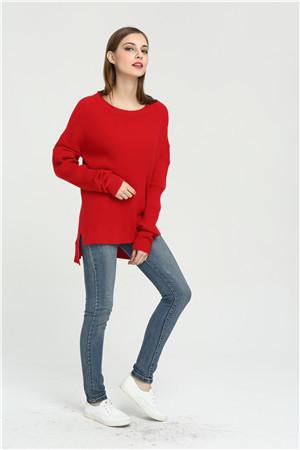 suéter de mujer de cachemira pura de moda con color rojo