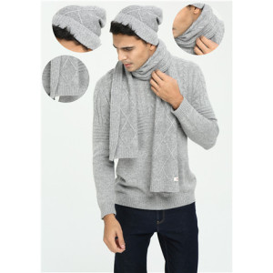 OEM factory Men's Solid Colour Cable Knitted Pure Cashmere Hat and Scarf Set for Fall Winter