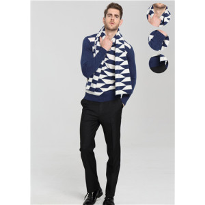 Wholesale long style 100% pure cashmere special strip scarf for men China supplier