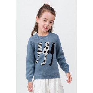 Wholesale girl cashmere sweater with cat pattern crewneck China supplier
