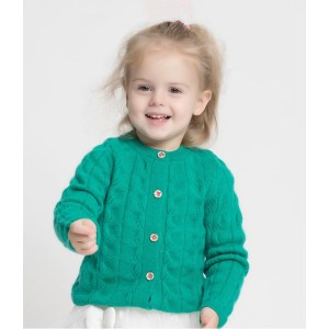 OEM Wool cashmere girl cable green thick cardigan sweater China vendor