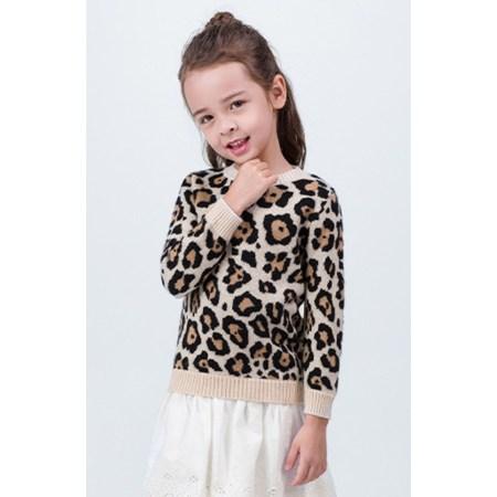 Girl cashmere sweater with leopard pattern EK19W15