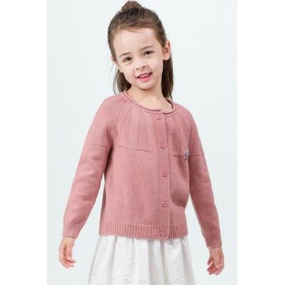 suéter de cachemira con costillas especiales para niña de color rosa con cuello redondo