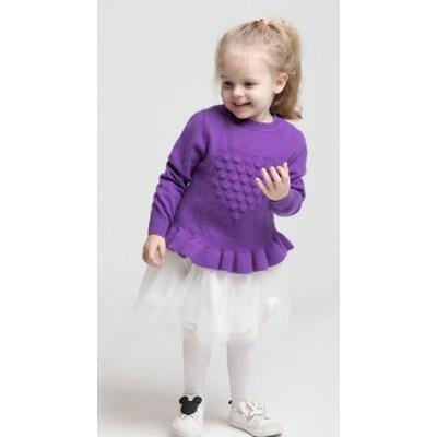 Vestido de patrón de punto especial de cuello redondo de cachemira para niña