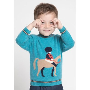 Custom design boy crewneck cashmere sweater with horse pattern and round neck China manufacturer
