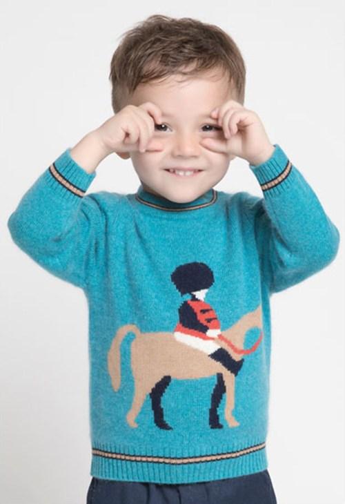 pull en cachemire à col rond pour garçon avec motif cheval et col rond