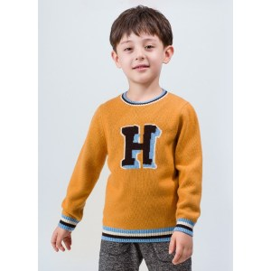 OEM factory boy cashmere word pattern round neck sweater with strip