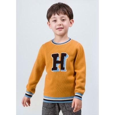 suéter de cuello redondo con estampado de palabra de cachemir para niño con tira