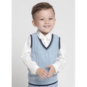 wholesale boy v-neck cashmere grey cable knitting gilet with strip China vendor