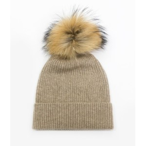 wholesale girl cashmere rib pattern hat with fur balloon in 2 colors China factory