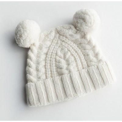 Bonnet en cachemire couleur pure oreilles de pompon de Gril pour l'automne hiver